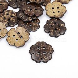 Boutons de noix de coco, 2-trou, fleur, coconutbrown, 38mm, Trou: 3.5mm(X-COCO-I002-043)