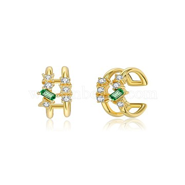 925 Sterling Silver Cuff Earrings, with Cubic Zirconia, Clear & Green, Golden, 12.5x12x6mm(EJEW-BB35503)
