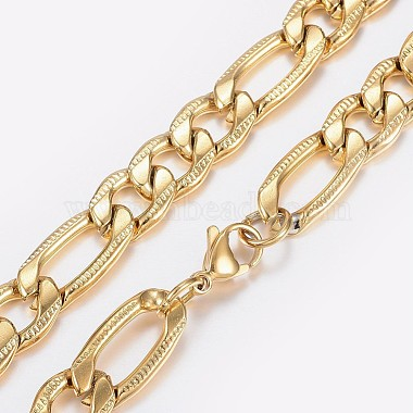Men's 304 Stainless Steel Textured Figaro Chain Necklaces(NJEW-I205-22A)-2