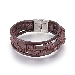 Braided Leather Cord Multi-strand Bracelets, with 304 Stainless Steel Clasps, Brown, 8-1/2inches(21.5cm)(BJEW-F349-13P)