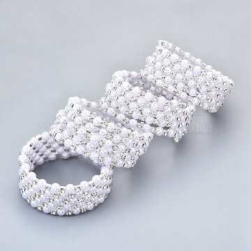 Five Loops Iron Wrap Bracelets, with Rhinestone and ABS Plastic Imitation Pearl, Platinum, Crystal, Inner Diameter: 2 inches(5cm)(BJEW-R308-02)