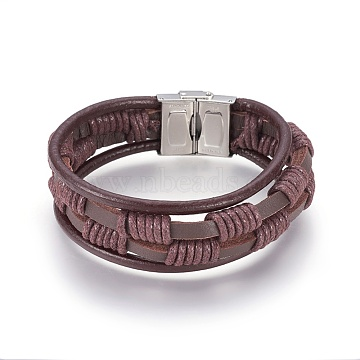 Braided Leather Cord Multi-strand Bracelets, with 304 Stainless Steel Clasps, Brown, 8-1/2 inches(21.5cm)(BJEW-F349-13P)