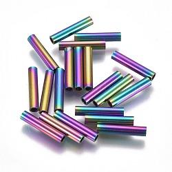 Perles de tube en 304 acier inoxydable, multicolore, 15x3mm, Trou: 2mm(STAS-F224-01M-E)