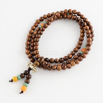 Dual-use Items, Wrap Style Buddhist Jewelry Bulinga Keva Wood Round Bead Bracelets or Necklaces, SaddleBrown, 840mm; 108pcs/bracelet(BJEW-R281-18)
