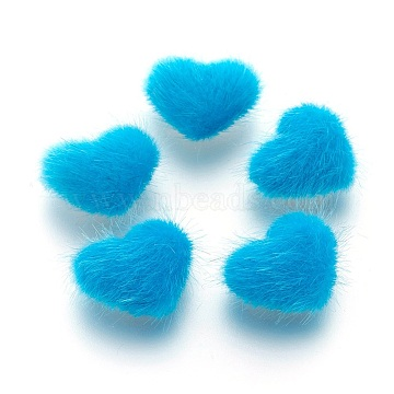 Faux Mink Fur Covered Cabochons, with Alloy Bottom, Heart, Silver Color Plated, Deep Sky Blue, 14x17x6.5mm(X-WOVE-F021-05S-02)