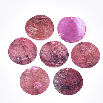 Spray Paint Natural Akoya Shell Pendants, Mother of Pearl Shell Pendants, Flat Round, HotPink, 25x1~3mm, Hole: 1.6mm(SHEL-S274-75B-05)