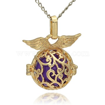 Golden Tone Brass Hollow Round Cage Pendants, with No Hole Spray Painted Brass Ball Beads, Blue Violet, 26x26x19mm, Hole: 3x8mm(KK-J230-03G)