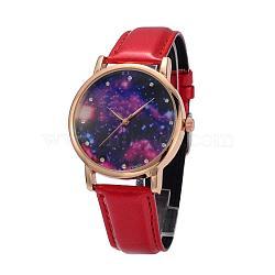 Женские кварцевые нержавеющей стали звездное небо наручные часы, с ПУ кожаный ремешок для часов, красные, 240x18~20 мм; голова часов : 47x42x11 мм; лицо часов : 36 мм(WACH-O004-03A)