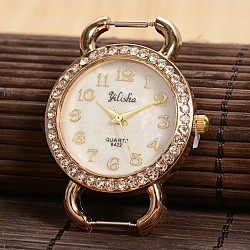 ton doré plats ronds alliage strass montre à quartz têtes de montres de visage, avec dos en acier inoxydable, or, 41.5x30.5x8 mm(X-WACH-F009-07)
