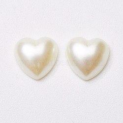 Cabochons de perles acryliques, cœur, couleur de coquillage, 8x8x3mm(MACR-E009-8mm-J02)