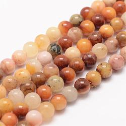 Natural Topaz Jade Bead Strands, Round, 8mm, Hole: 1mm; about 48pcs/strand, 15.5