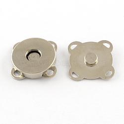 Fer fermoirs bourse d'accrochage, fermeture pour sac à main, platine, 15x15x6.5mm, Trou: 2x1mm(X-IFIN-R203-69P)
