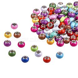 Imitation turquoise style acrylique européen perles, Perles avec un grand trou   , laiton avec ton argent noyaux doubles, rondelle, couleur mixte, 14x9.5mm, Trou: 5mm(OPDL-Q132-M)