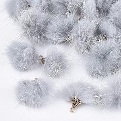 Décorations pendentif pompon fourrure, avec les accessoires en alliage, Or antique, gris clair, 20~30x28~30mm, Trou: 1.8mm(X-FIND-S300-37I)