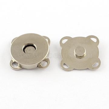 Iron Purse Snap Clasps, Closure for Purse Handbag, Platinum, 15x15x6.5mm, Hole: 2x1mm(X-IFIN-R203-69P)