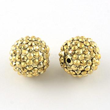 18mm LightKhaki Round Resin+Rhinestone Beads