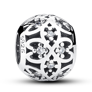 925 Thai Sterling Silver Rhinestone Hollow Rondelle European Beads, Antique Silver, Hole: 4~5mm(STER-FF0002-017)