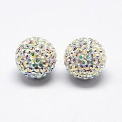 Clous d'oreilles en argent sterling avec strass en cristal autrichien, avec des noix d'oreille en plastique, rond, 101 _crystal + ab, 12mm, pin: 0.8 mm(SWARJ-D470-101)