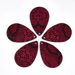 Gros pendentifs en cuir pu, larme avec motif peau de serpent, firebrick, 57.5x37x1.5mm, Trou: 2mm(X-FIND-S300-54E)