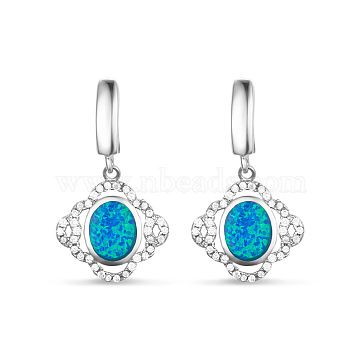 SHEGRACE Delicate 925 Sterling Silver Leverback Hoop Dangle Earrings, with Micro Pave AAA Cubic Zirconia and Blue Opalite Drop Pendant, Silver, 30mm, Pin: 1mm(JE50A)