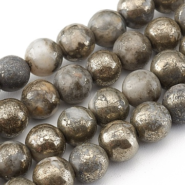 Natural Pyrite Beads Strands, Round, 6mm, Hole: 0.6mm; about 66pcs/strand, 15.75''(40cm)(X-G-G839-01-6mm)