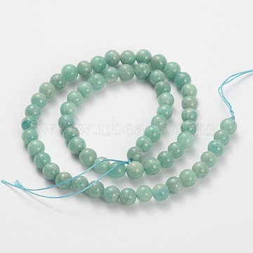 Natural Gemstone Amazonite Round Beads Strands, 10mm, Hole: 1mm; about 39pcs/strand, 15inches(G-O030-10mm-11)