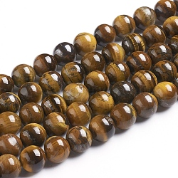 Natural Tiger Eye Beads Strands, Round, Grade B, 12mm, Hole: 1mm, about 33pcs/strand