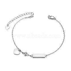 Shegrace® 925 bracelets à breloques en argent sterling, avec aaa grade zircone cubique, cœur, platine, 6-1 / 2 (16.5 cm); coeur: 8.3x7.1 mm(JB507A)