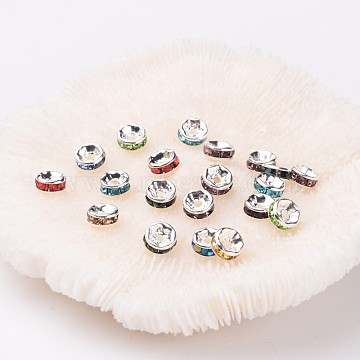 6mm Mixed Color Rondelle Brass + Rhinestone Spacer Beads