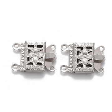 304 Stainless Steel Box Clasps, Multi-Strand Clasps, 2-Strands, 4-Holes, Rectangle with Flower, Stainless Steel Color, 15x10x3mm, Hole: 1mm(STAS-P249-05P)
