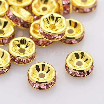 8mm Rondelle Brass+Rhinestone Spacer Beads