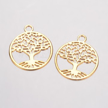 Brass Filigree Pendants, Flat Round with Tree of Life, Golden, 23.5x20x0.5mm, Hole: 3mm(X-KK-D522-09G)