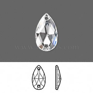 Austrian Crystal Beads, 3230, Crystal Passions, Foil Back with 2 Holes Sew-on Stone, Faceted, Pear, 001_Crystal, 18x10.5x4mm, Hole: 3mm(X-3230-10.5x18-F001)