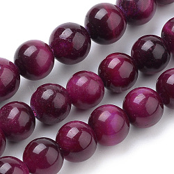 Natural Tiger Eye Beads Strands, Dyed, Round, MediumVioletRed, 10mm, Hole: 1mm; about 40pcs/strand, 15.7inches