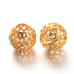 Hollow Round Brass Filigree Beads, Filigree Ball, Golden, 10x9mm, Hole: 4.5mm(X-KK-L129-12G)