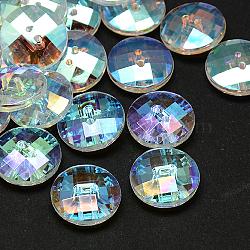 Boutons en acrylique avec strass à Taiwan, facette, 2-trou, disque, clair, 10x4mm, Trou: 1mm(X-BUTT-F022-10mm-15)