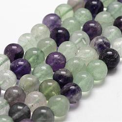 """Chapelets de perles en fluorite naturelle, rond, grade AB, 6mm, trou: 1mm; environ 61 pcs/chapelet, 14.9''~15.1""""(G-D840-56-6mm-AB)"""
