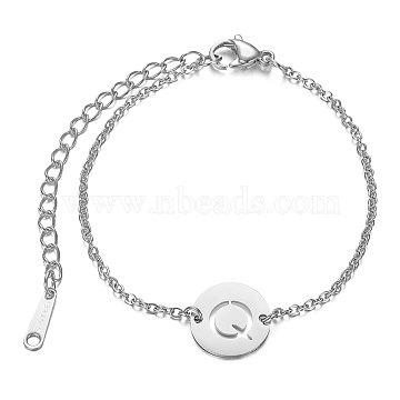 201 Stainless Steel Link Bracelets, with Cable Chains and Lobster Claw Clasps, Flat Round with Letter, Letter.Q, 6 inches~6-3/4 inches(15~17.5cm); 1.5mm(STAS-T040-JN007-Q)
