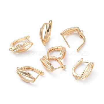 Accessoires de boucle d'oreilles en laiton, avec boucle, Plaqué longue durée, véritable plaqué or, 18.5x12.5x7.5mm, trou: 1.2 mm; broches: 0.8 mm(KK-L180-109G)