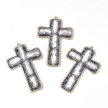 Natural Cultured Freshwater Pearl Big Pendants, with Matte Gold Color Plated Alloy Findings and Polymer Clay Rhinestone, Cross, Jet Hematite & Crystal, 73x49.5mm, Hole: 2mm(RB-T013-01A)