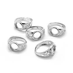 Brass Ring Shanks, Pad Ring Settings, Adjustable, Platinum, 18mm(X-KK-L184-50P)