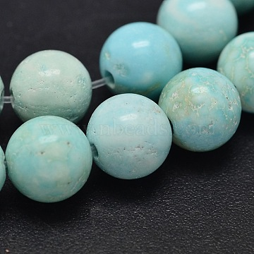 Natural Howlite Beads Strands, Dyed & Heated, Round, Turquoise, 4mm, Hole: 1mm; about 95pcs/strand, 15.5inches(39.4cm)(TURQ-P027-17-4mm)