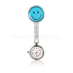 Alliage smiley infirmière montres tableau de poche, avec un alliage table de l'émail, chaînes métalliques et clips de fer, plat rond, bleu foncé, 91 mm; cadran montre: 29x8 mm; boitier montre: 20 mm; visage de sourire: 32x29x17 mm(WACH-N007-03F)