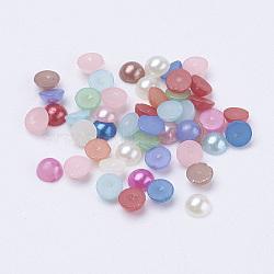 Cabochons demi-ronde bombés en acryliques d'imitation nacre, couleur mixte, 4x2 mm; environ 1000 pcs / 10 g(X-OACR-H001-4x2mm)
