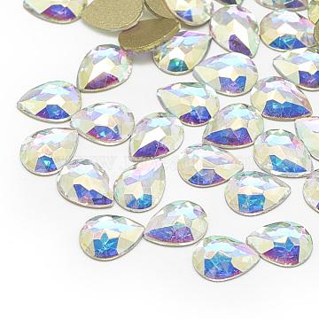 DIY Flat Back K9 Glass Rhinestone Cabochons, Back Plated, Faceted, Teardrop, Crystal AB, 8x6x2mm(RGLA-T057-6x8mm-01)