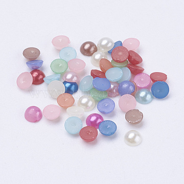 Half Round Domed Imitated Pearl Acrylic Cabochons, Mixed Color, 4x2mm, about 1000pcs/10g(X-OACR-H001-4x2mm)
