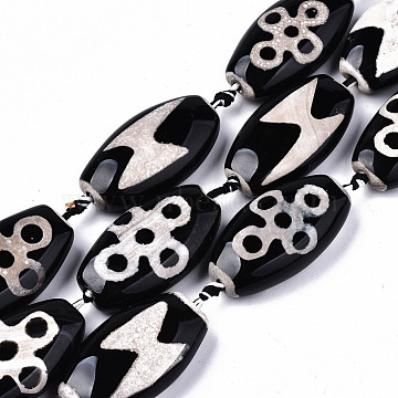 Tibetan Style dZi Beads, Natural Agate Beads Strands,  Dyed & Heated, Oval, Lighting & 5-Eye Pattern, Black, 39~40x20~24x9~11mm, Hole: 2.5mm; about 8pcs/strand, 14.96 inches(38cm)(G-S359-250B)