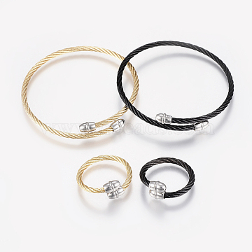 304 Stainless Steel Jewelry Sets, Adjustable Bangles and Rings, Mixed Color, 2-1/8inches(55mm); 18mm(BJEW-H123-02)