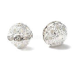 Brass Rhinestone Beads, Grade A, Round, Silver Color Plated, Clear, Size: about 10mm in diameter, hole: 1.2mm(X-RB-H041-20)