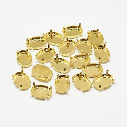 Supports de griffes en strass en 201 acier inoxydable, ovale, or, plateau: 7x4.5 mm; 7.5x5x4 mm, Trou: 1mm(STAS-T032-03G-6x8mm)